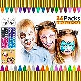 Gifort Trucchi per Truccabimbi, 36 Colori Body Painting Kit con 4 Face Paint Stampini per Bambini, Perfetto per Carnevale, Pa