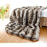 Couverture en fourrure en fausse fourrure loup gris/marron 220 x 240 cm