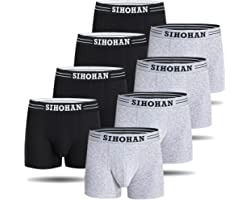 SIHOHAN Mens Boxer Shorts, 8 Pack Cotton Men Underwear, Stretch Trunks Briefs Breathable Multipack Underpants