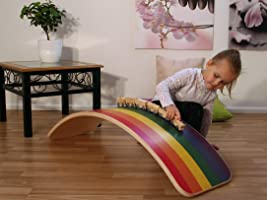 KateHaa Large Rainbow Balance Board Montessori toy Wooden toy Baby cradle Curvy board Kids toy Wooden board Wooden curvy...