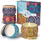 Velas Perfumadas,Eletorot Vela Aromática Juego de 4 Piezas Cera de Soja Higo Primaveral Lavanda Limón Juegos de Velas para Cu