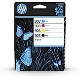HP 903 Pack de 4 Cartouches d'Encre Noire, Cyan, Magenta, Jaune Authentiques (6ZC73AE) pour HP OfficeJet 6950, HP OfficeJet P