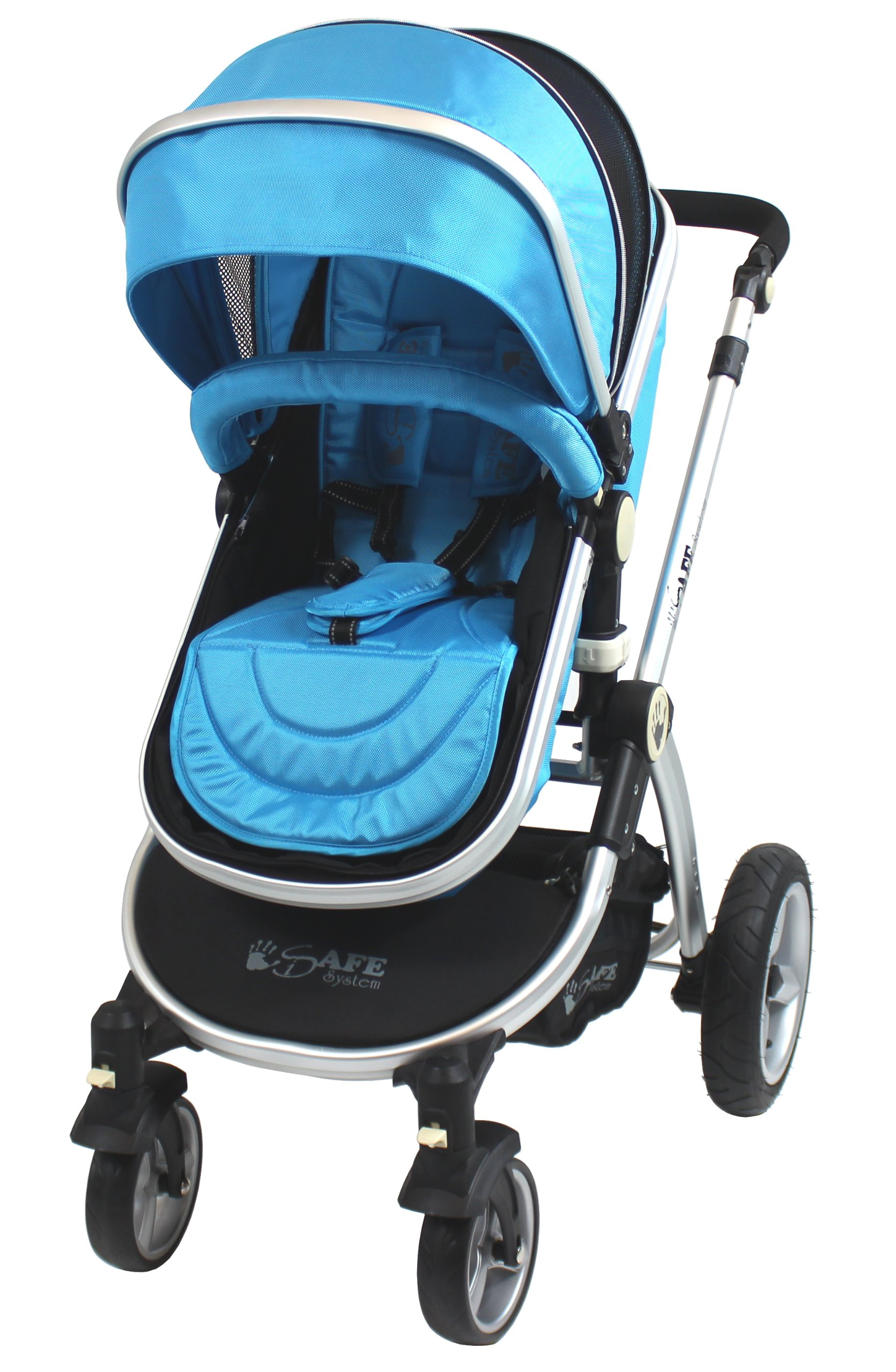 iSafe 2 in 1 Baby Pram System Complete (Ocean) iSafe We Are Proud To Present One Of The Finest 2in1 Stroller/Pram/Pramette/Travel System in the UK & Europe! 2 in 1 Stroller / Pram Extremely Easy Conversion To A Full Size Carrycot For Unrivalled Comfort. Complete With Boot Cover, Luxury Liner, 5 Point Harness, Raincover, Shopping Basket With Closed Ziped Top High Quality Rubber Inflatable Wheels With The Full All around Soft Suspension For That Perfect Unrivalled Ride 5