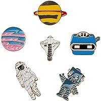 FT-SHOP Spilla di Metallo Simpatico Smalto Spilla Set Pianeti Spazio e Dinosauro in Stile Cartone Animato per Ragazze…