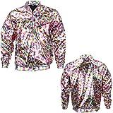 Womens Holographic Bomber Jacket Slim FIT Festival Clubbing Pride Fancy Dress Metallic Shiny Rave Lightweight