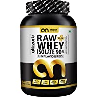Abbzorb Nutrition Raw+ Whey Isolate 90% 29.7g Protein | 7.4g BCAA with Digestive Enzymes 1 kg
