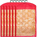 Kuber Industries 6 Pieces Non Woven Hanging Saree Cover Wardrobe Organiser With Hanger (Red) - CTKTC30945
