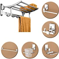 Plantex High Grade Stainless Steel Folding Towel Rack with Stainless Steel 304 Grade Darcy Bathroom Accessories Set 5pcs…