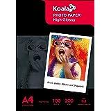 KOALA Carta fotografica lucida per getto d'inchiostro A4, 200g/m² 100 fogli, per stampante a getto d'inchiostro Canon Hp Epso