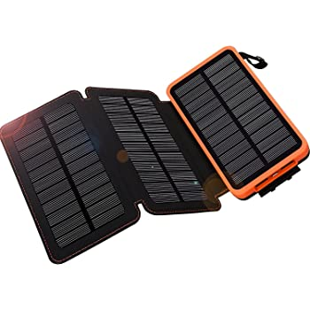 WBPINE Solar Charger 24000mAh, Solar Power Bank Waterproof Dual USB Output with 3 Solar Panels External Battery Bank Flashlights for iPhone 8/X,Samsung S9/Note 8 and More