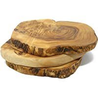 Benera   Sottopentola in Legno d  39 ulivo  Forma Rotonda  Stile Rustico  3 Pezzi  Diametro  20 cm  Colore Naturale
