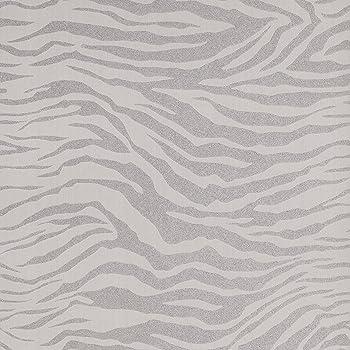Papier Peint Design Zebre Gris Clair Couleur Blanc Argente Matiere