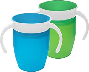 Munchkin Miracle 360 Trainer Cup, 7 Ounce, 2 Count (Green/Blue)