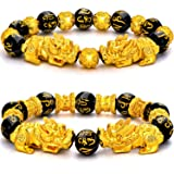 2 Pieces 12 mm Feng Shui Bead Bracelet Chinese Bracelet with Hand Carved Black Amulet Bead Bracelet for Attracting Wealth and