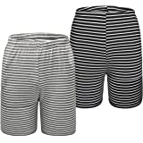 Mens Lounge Wear Shorts 2 Pack Soft Comfy Striped Pyjama Bottoms, Gray & Black, S-2XL