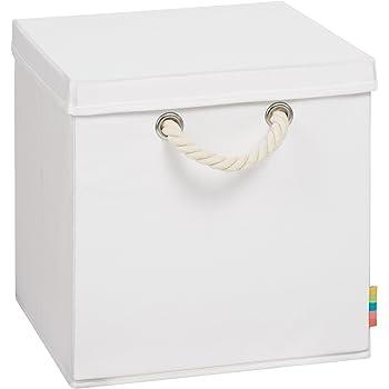 (Storanda) Aufbewahrungsbox LEO mit Deckel - Faltbox - Korb - 30x30x30 cm - (Weiß)