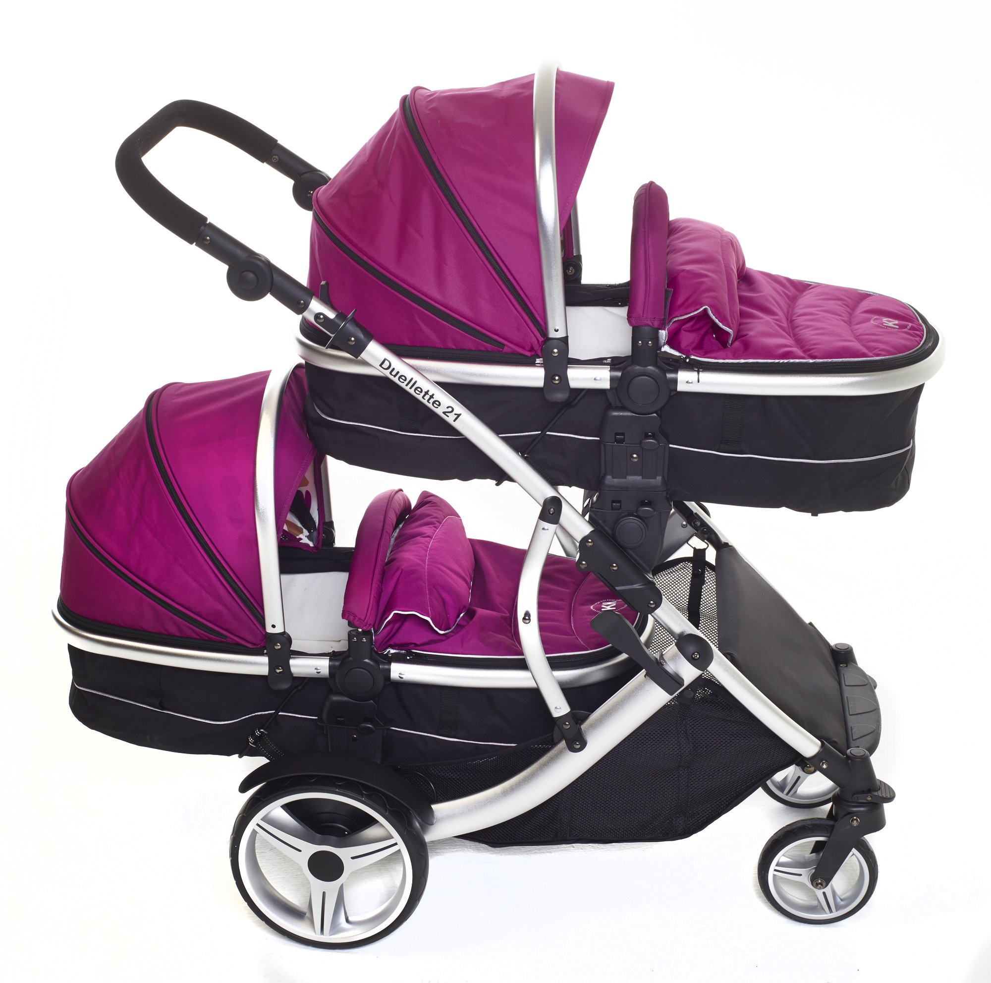 Kids Kargo Double Twin Tandem Pushchair. Duellette Combi Suitable from birth, Carrycot converts to toddler seat unit. Stroller by Kids Kargo (Dooglebug Raspberry)  Versatile. Suitable for Newborn Twins Compatible with car seats; Kidz Kargo, Britax Baby safe or Maxi Cosi adaptors. carrycots have mattress and soft lining, which zip off. Remove lining and lid, when baby grows out of carrycot mode, converts to seat unit 2