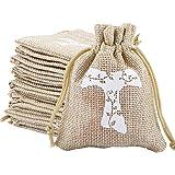 BHGT 24 Pezzi Sacchetti Bomboniere Comunione Juta Sacchetti Regalo Portaconfetti con Coulisse per Battesimo Matrimonio Cresim