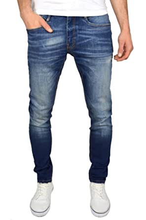 Duck and Cover Men's Tranfold Faded Abraised Stretch Slim Fit Jeans