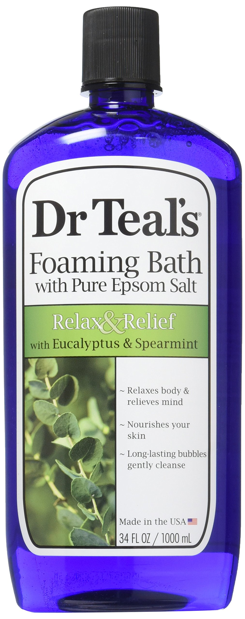 Dr Teal's Pure Epsom Salt Foaming Bath to Relax and Relief with Eucalyptus and Spearmint, 1 Litre