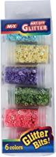 Yellow Bee Glitter Flakes Star & Heart Shaped - Pack of 6, Multi, 90GM