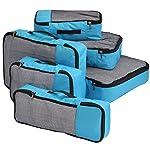 FATMUG Packing Cubes Travel Bag Organiser Set of 6 (1 Large, 2 Medium, 2 Small and 1 Slim) - Blue