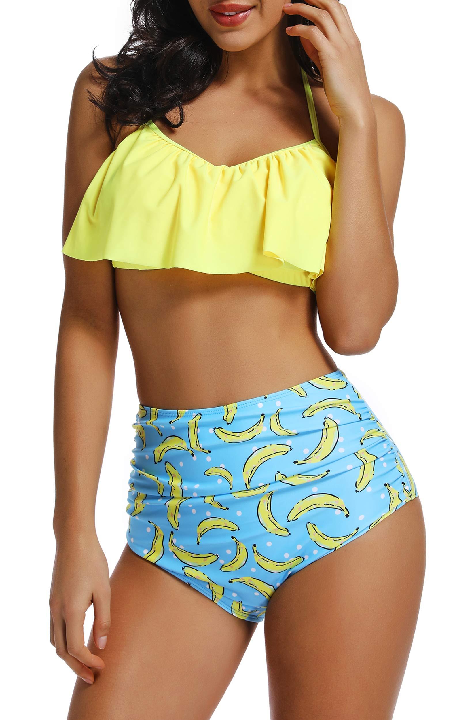 acquisto economico af0c2 b2a6a INSTINNCT Costume da Bagno Bikini Volant Donna a 2 Pezzi con Vita Alta  Vintage Push Up Balze Ruffled Mare Mutande Reggiseno Swimwear - FACESHOPPING