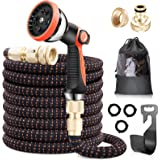 """lanktoo Expandable Garden Hose 50ft, Flexible Lightweight Water Hose with 10 Way Spray Nozzle, 3/4"""" Solid Brass Fittings, Eas"""