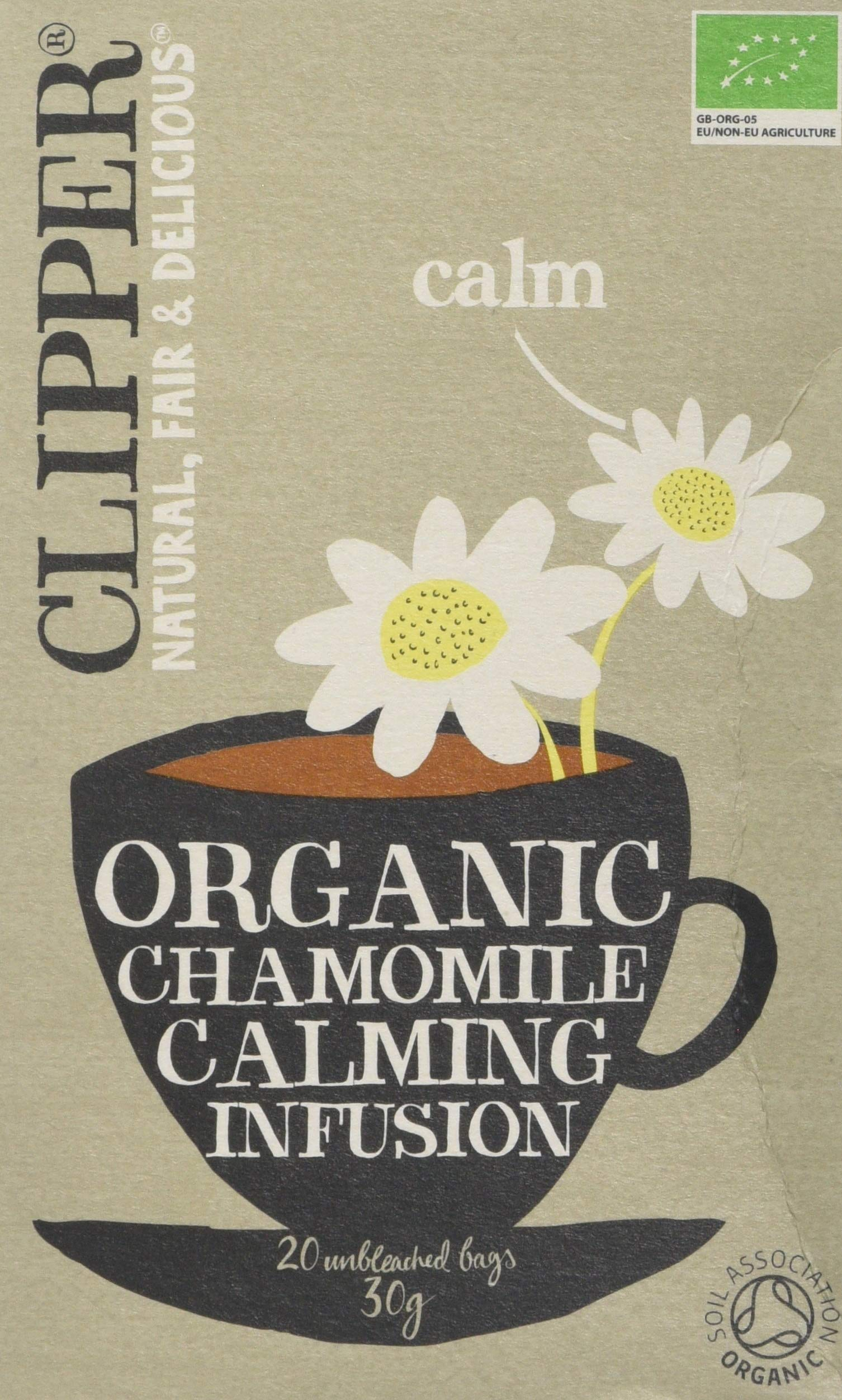 Clipper organic chamomile calming tea bundle (soil association) (infusions) (6 packs of 20 bags) (120 bags) (a floral tea with aromas of camomile) (brews in 2-5 minutes)