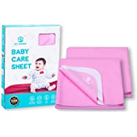 MY ARMOR Quick Dry Waterproof Baby Bed Protector Dry Sheet for Babies - (Small (Pack of 2), Baby Pink)