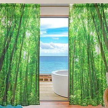sheer voile rideau de fen tre myst rieux tropical forest. Black Bedroom Furniture Sets. Home Design Ideas
