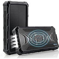 DJROLL 36000mAh Qi Wireless Solar Powerbank mit 4 USB/Typ C Ausgängen und LED-Lampe, Tragbares Outdoor Wasserdichtem…
