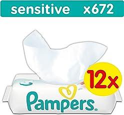 Pampers Sensitive Feuchttücher, 672 Tücher, 12er Pack (12 x 56 Stück) - Assortiert