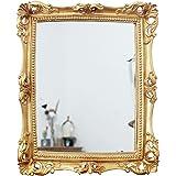 Funly mee Miroir décoratif vintage 24 x 28 cm, miroir de maquillage de table mural en or antique carré
