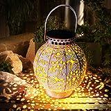 Farol Solar Exterior, Jardin LED Luz Solar Colgante Lámpara Solares Jardín Luces Solare de Linterna Solar Lámpara de Metal IP