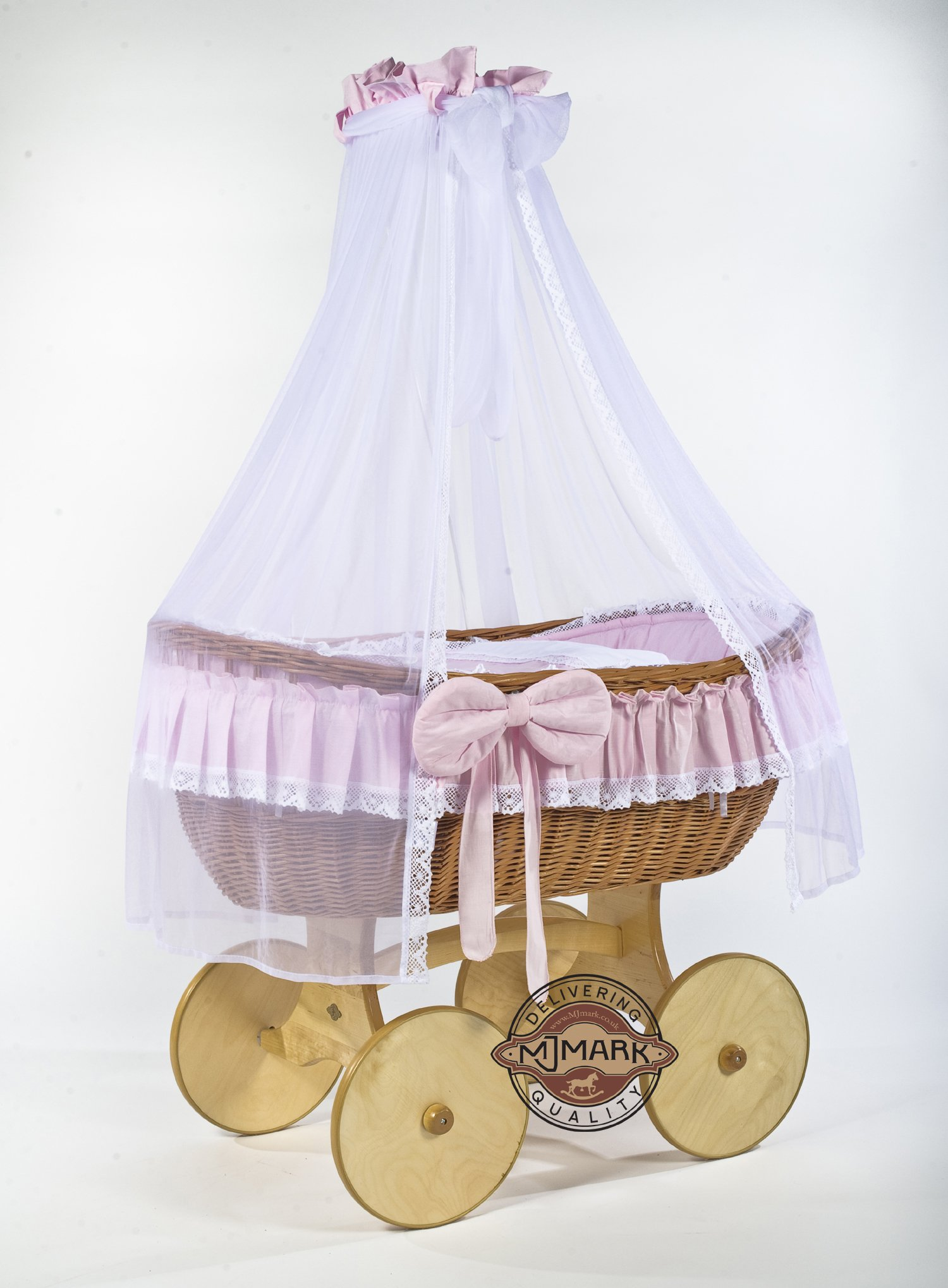 Ophelia Wicker Crib Cot (Moses Basket) Antique PINK from MJmark  Solid, Large wicker crib Handmade nature wicker basket Solid wooden base with wheels 1