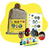 Toiing Rock Art Kit | Creative Reusable Painting DIY Kit | Indoor Art & Craft Kit with Paints & Paintbrush | Birthday Gift fo