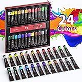 Set di Colori Acrilici Per Dipingere - 24 Tubi di Colori a Tempera, Ciascuno 12 ml, Alta Qualità Non Tossico, per Pittura su