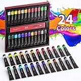 Set di Colori Acrilici Per Dipingere - 24 Tubi di Colori a Tempera, Ciascuno 12 ml, Alta Qualità Non Tossico, per…