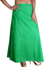 S.K. Textiles Pure Cotton Petticoat GREEN XL (Suitable for 46-50 inches Waist Size)