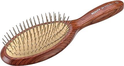 Pfeilring Rosenholz Pneumatik-Haarbürste mit hellem Kissen und mit Metallstiften, 23 cm, 9 Reihen