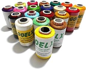 GOELX Silk 20 Main Colour Set for Jewellery Tassel Making Embroidery Crafts, Shiny Soft Thread Spools (Medium, Multicolour)