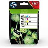 HP 963XL Pack de 4 Cartouches d'Encre Noire, Cyan, Magenta et Jaune grandes capacités Authentiques (3YP35AE) pour HP OfficeJe