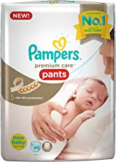 Pampers Premium Care Pants New Born, White (60 Count)