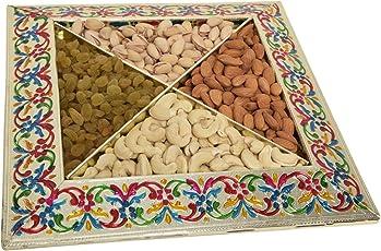 Shubh Wedding Square Shape Meenakari Tray, Dryfruit Tray, Decorative Platter for Gift/Wedding/Function (Empty Tray) (ShubhW-019)