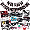 Wobbox Anniversary Photo Booth Party Props DIY Kit with Happy Anniversary Bunting Banner, Red Gliter & Black , Anniversary Pa