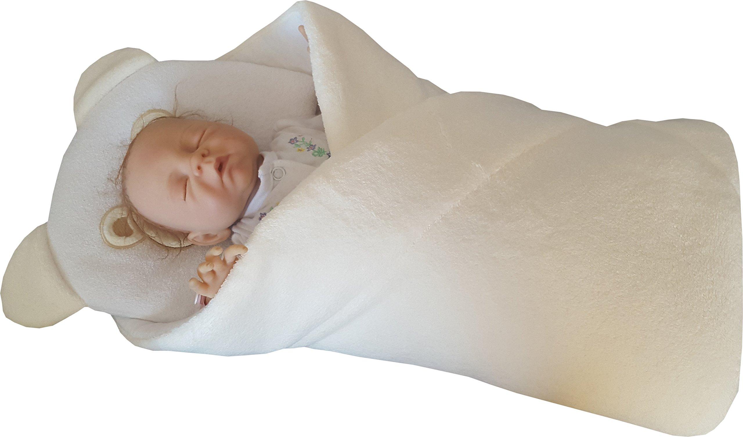 BlueberryShop manta – cambiador con almohada de forro polar | Saco de dormir para bebés recién nacidos | Para bebés de 0-3 meses | Regalo perfecto para Baby Shower | 78 x 78 cm