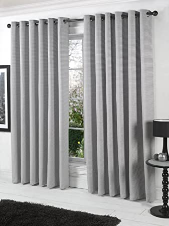 Stella Silver Grey Chenille Ready Made Curtains Extra Long 90