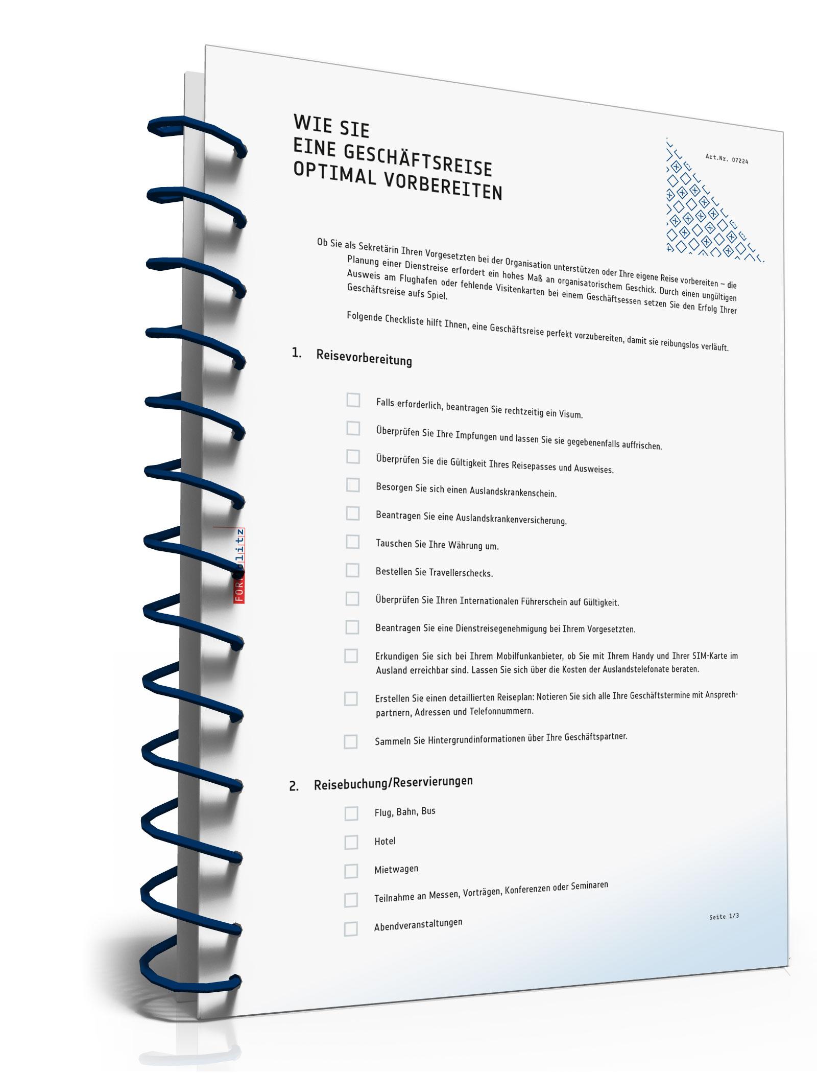 Checkliste Vorbereitung Geschäftsreise  [PDF Download]