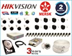 Hikvision MERSK 16 Ch Turbo HD DVR and 2MP Full HD CCTV Camera Kit (White)